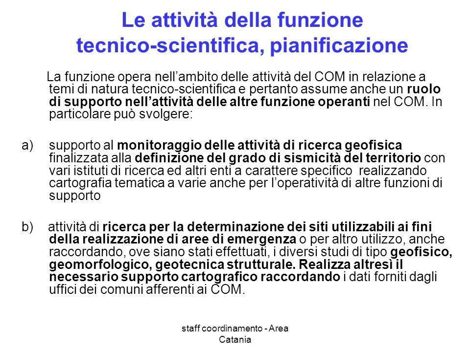 staff coordinamento - Area Catania Le attività della funzione tecnico-scientifica, pianificazione La funzione opera nellambito delle attività del COM