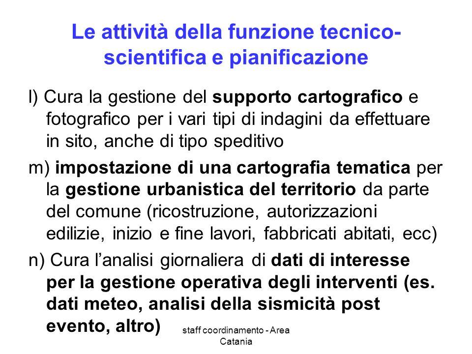 staff coordinamento - Area Catania Le attività della funzione tecnico- scientifica e pianificazione l) Cura la gestione del supporto cartografico e fo