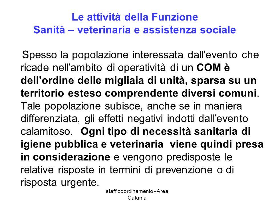 staff coordinamento - Area Catania Le attività della Funzione Sanità – veterinaria e assistenza sociale Spesso la popolazione interessata dallevento c