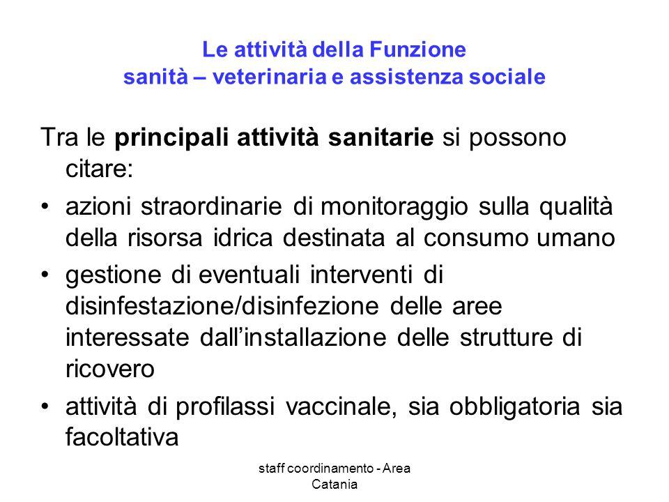 staff coordinamento - Area Catania Le attività della Funzione sanità – veterinaria e assistenza sociale Tra le principali attività sanitarie si posson