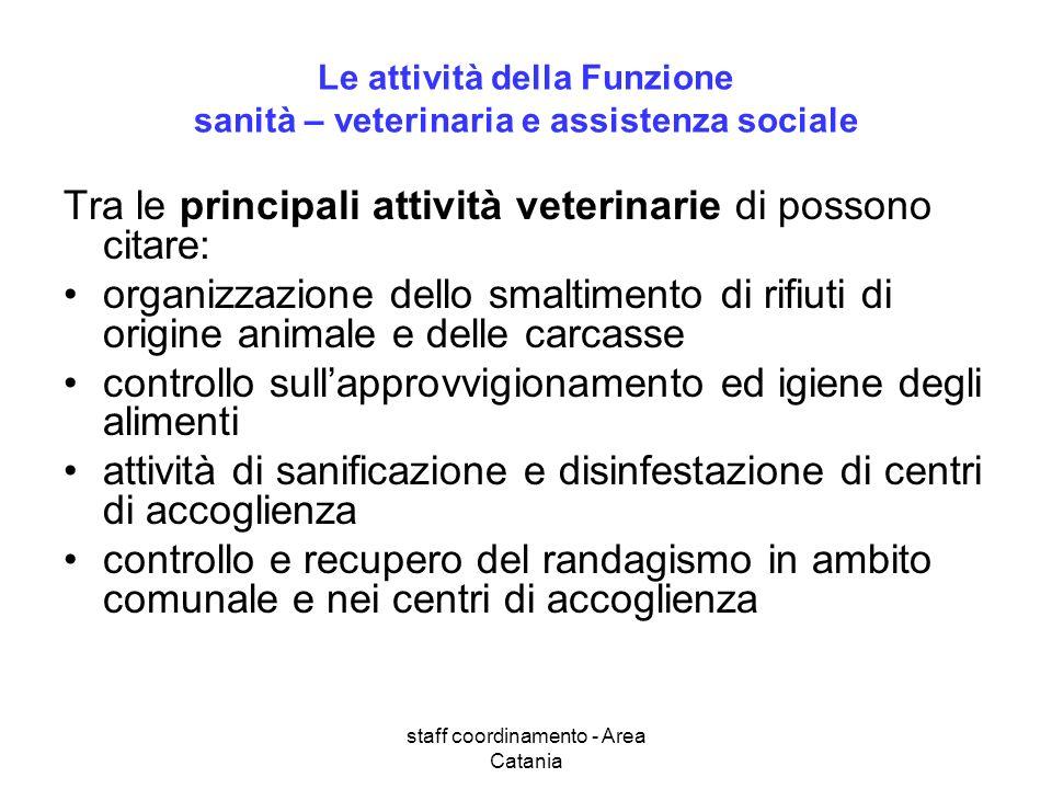 staff coordinamento - Area Catania Le attività della Funzione sanità – veterinaria e assistenza sociale Tra le principali attività veterinarie di poss