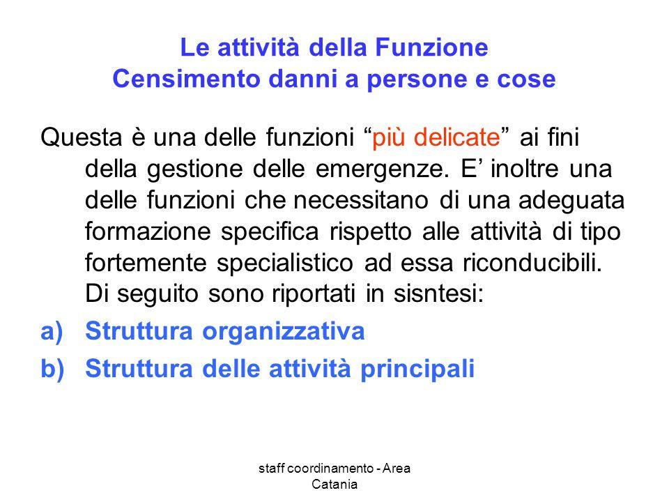 staff coordinamento - Area Catania Le attività della Funzione Censimento danni a persone e cose Questa è una delle funzioni più delicate ai fini della gestione delle emergenze.