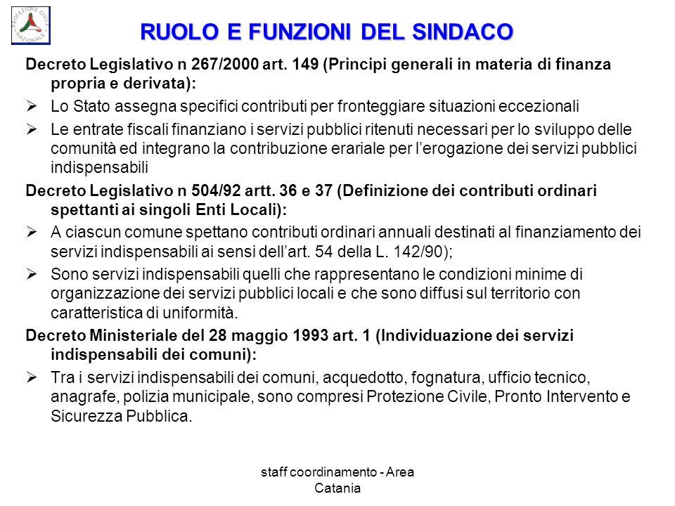 staff coordinamento - Area Catania RUOLO E FUNZIONI DEL SINDACO Decreto Legislativo n 267/2000 art. 149 (Principi generali in materia di finanza propr