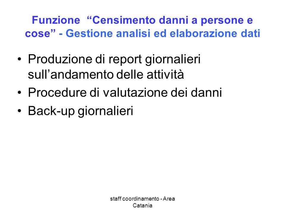 staff coordinamento - Area Catania Funzione Censimento danni a persone e cose - Gestione analisi ed elaborazione dati Produzione di report giornalieri
