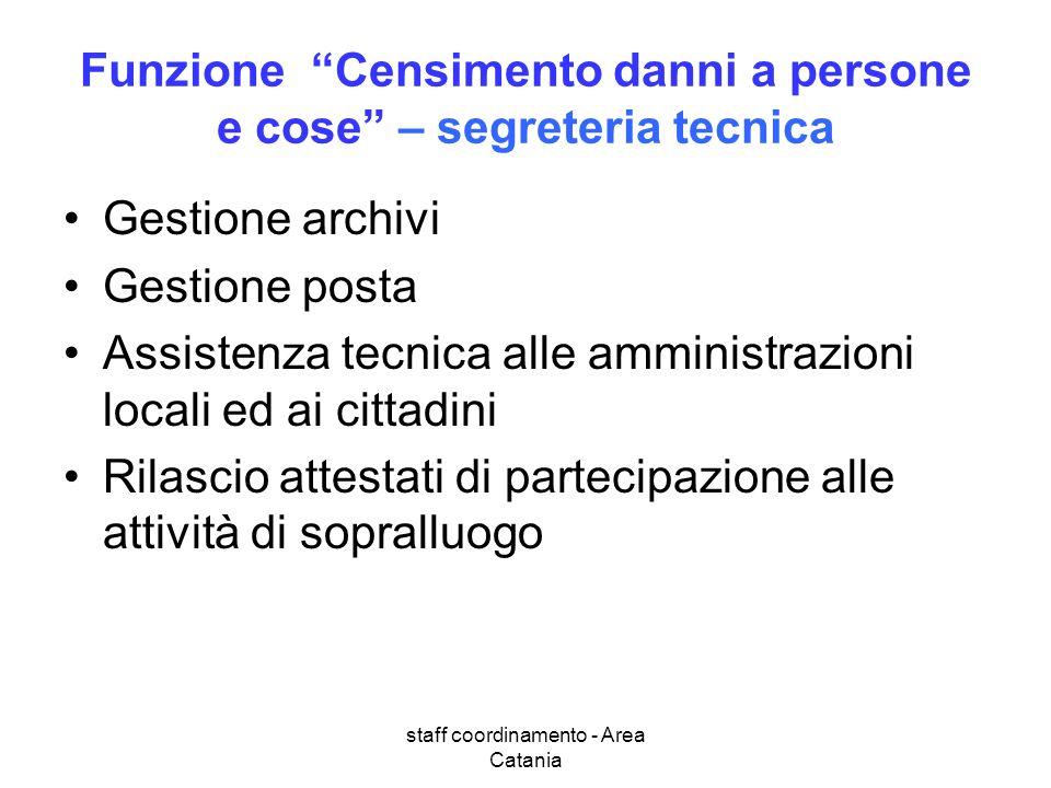 staff coordinamento - Area Catania Funzione Censimento danni a persone e cose – segreteria tecnica Gestione archivi Gestione posta Assistenza tecnica