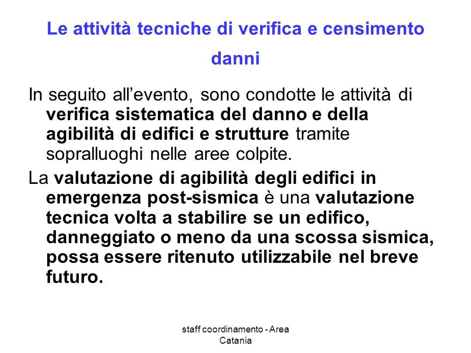 staff coordinamento - Area Catania Le attività tecniche di verifica e censimento danni In seguito allevento, sono condotte le attività di verifica sis