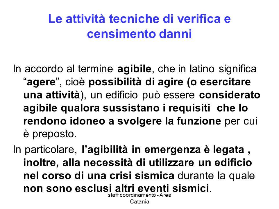 staff coordinamento - Area Catania Le attività tecniche di verifica e censimento danni In accordo al termine agibile, che in latino significaagere, ci