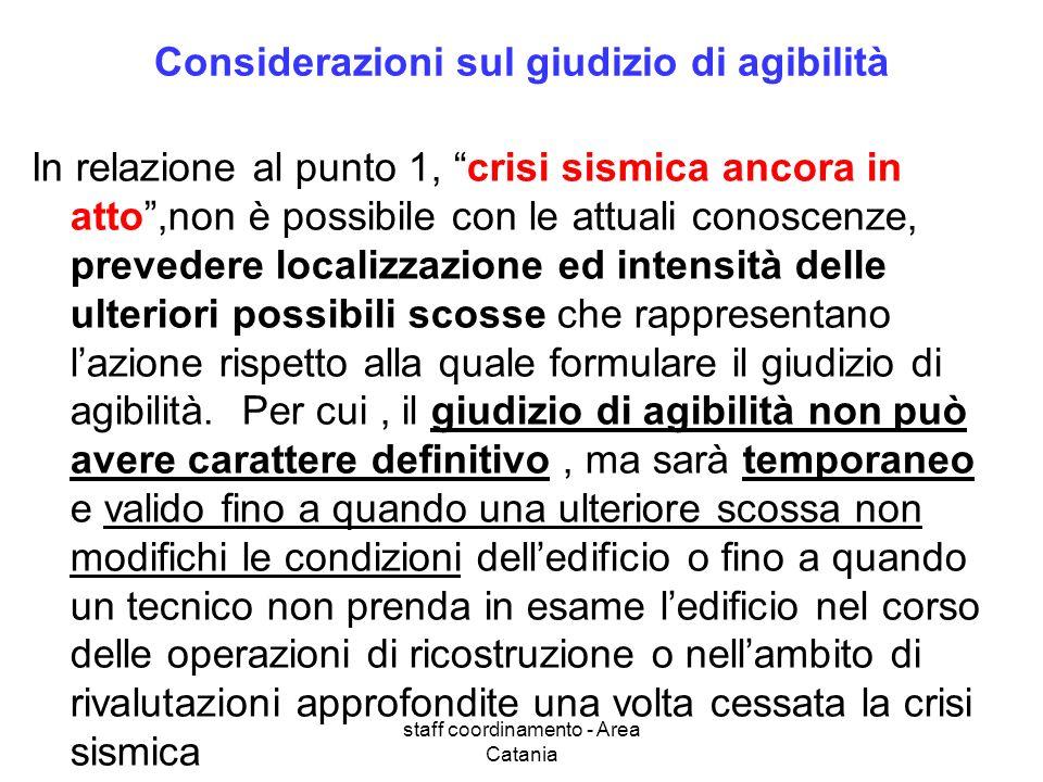 staff coordinamento - Area Catania Considerazioni sul giudizio di agibilità In relazione al punto 1, crisi sismica ancora in atto,non è possibile con le attuali conoscenze, prevedere localizzazione ed intensità delle ulteriori possibili scosse che rappresentano lazione rispetto alla quale formulare il giudizio di agibilità.