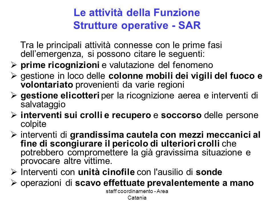 staff coordinamento - Area Catania Le attività della Funzione Strutture operative - SAR Tra le principali attività connesse con le prime fasi dellemer