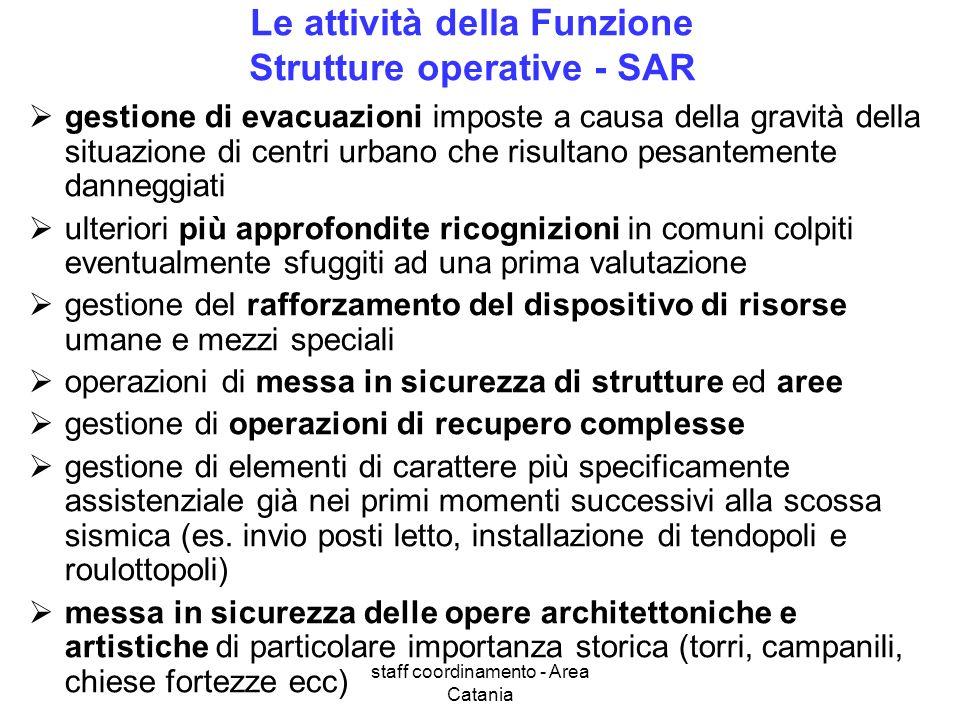 staff coordinamento - Area Catania Le attività della Funzione Strutture operative - SAR gestione di evacuazioni imposte a causa della gravità della si