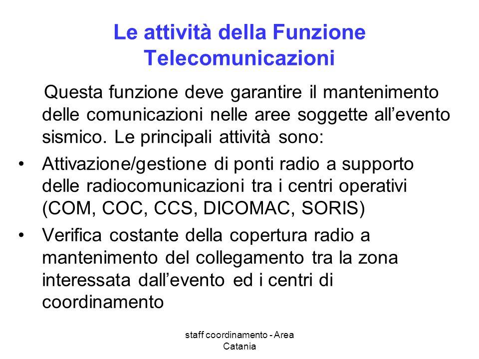 staff coordinamento - Area Catania Le attività della Funzione Telecomunicazioni Questa funzione deve garantire il mantenimento delle comunicazioni nelle aree soggette allevento sismico.