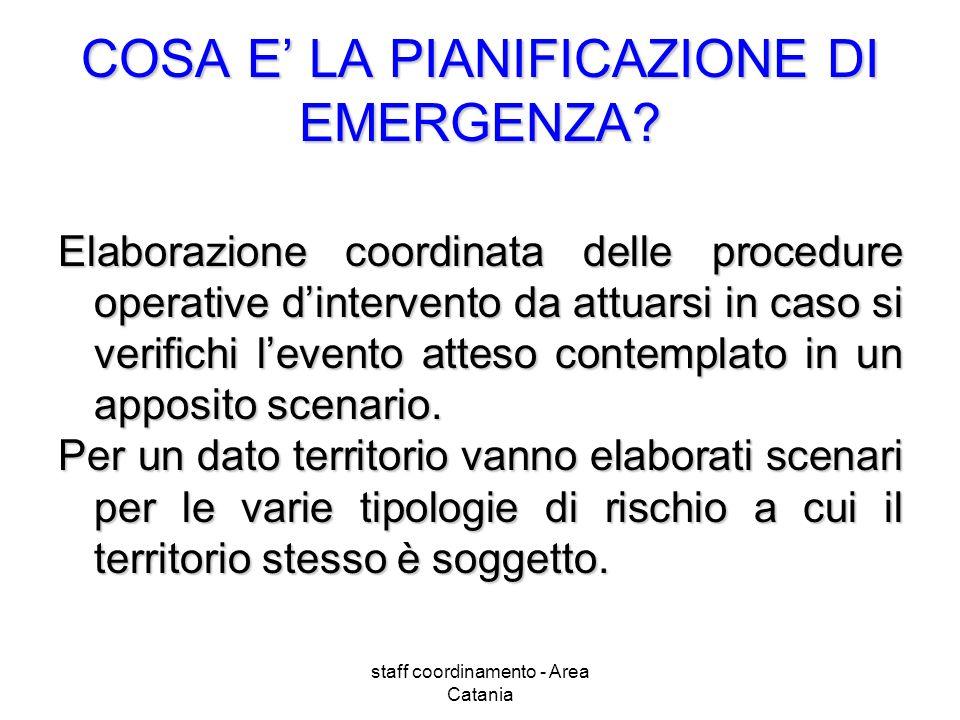 staff coordinamento - Area Catania COSA E LA PIANIFICAZIONE DI EMERGENZA? Elaborazione coordinata delle procedure operative dintervento da attuarsi in
