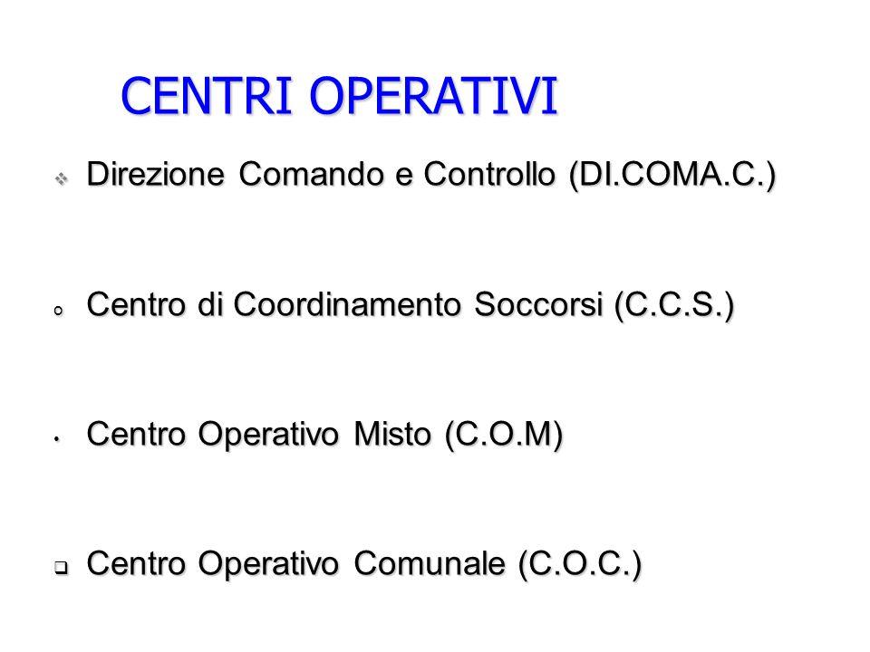 CENTRI OPERATIVI Direzione Comando e Controllo (DI.COMA.C.) Direzione Comando e Controllo (DI.COMA.C.) o Centro di Coordinamento Soccorsi (C.C.S.) Centro Operativo Misto (C.O.M) Centro Operativo Misto (C.O.M) Centro Operativo Comunale (C.O.C.) Centro Operativo Comunale (C.O.C.)