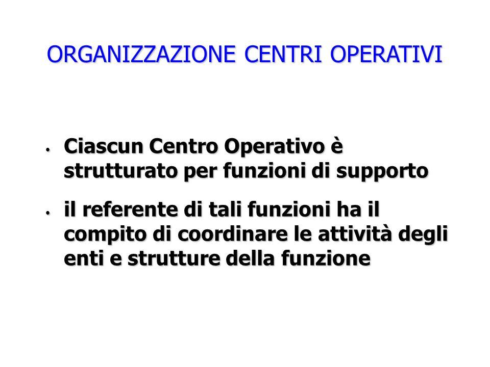 ORGANIZZAZIONE CENTRI OPERATIVI Ciascun Centro Operativo è strutturato per funzioni di supporto Ciascun Centro Operativo è strutturato per funzioni di