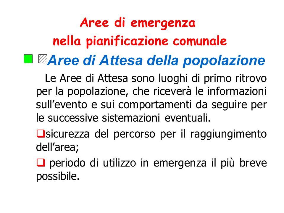 Aree di emergenza nella pianificazione comunale Aree di Attesa della popolazione Le Aree di Attesa sono luoghi di primo ritrovo per la popolazione, ch