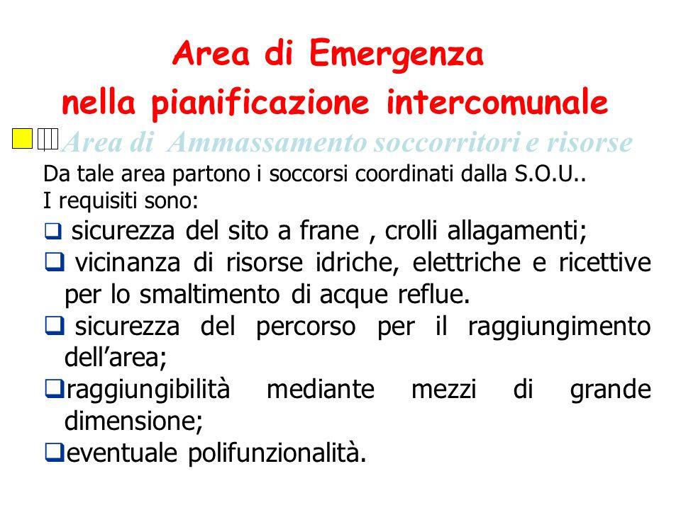 Area di Ammassamento soccorritori e risorse Da tale area partono i soccorsi coordinati dalla S.O.U.. I requisiti sono: sicurezza del sito a frane, cro