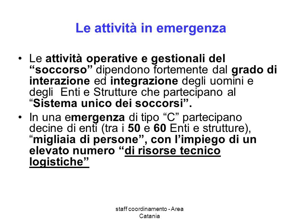staff coordinamento - Area Catania Le attività in emergenza Le attività operative e gestionali del soccorso dipendono fortemente dal grado di interazi