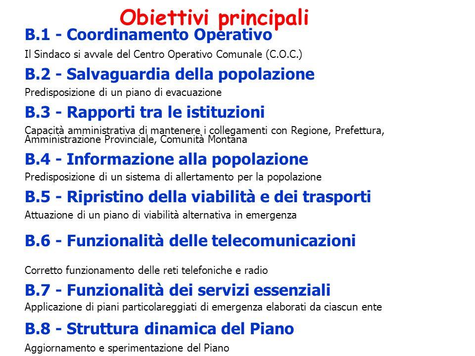 Obiettivi principali B.1 - Coordinamento Operativo Il Sindaco si avvale del Centro Operativo Comunale (C.O.C.) B.2 - Salvaguardia della popolazione Pr