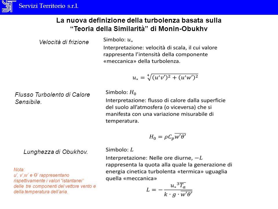 Servizi Territorio s.r.l. La nuova definizione della turbolenza basata sulla Teoria della Similarità di Monin-Obukhv Velocità di frizione Flusso Turbo