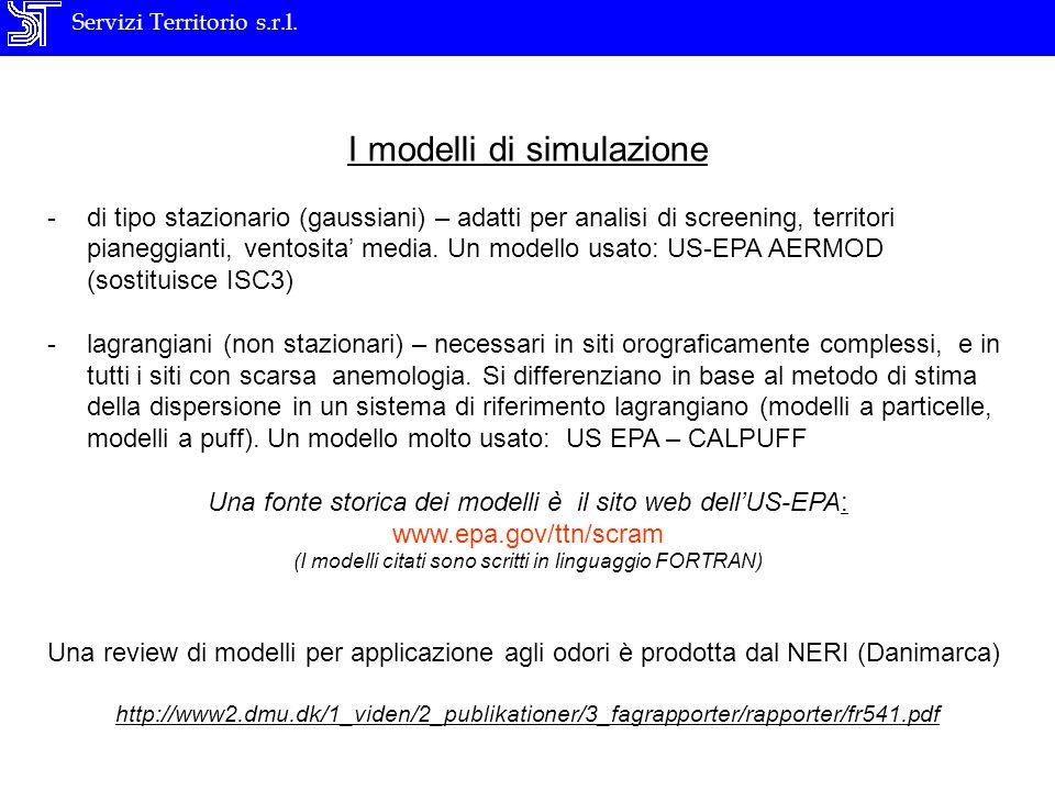 Servizi Territorio s.r.l. I modelli di simulazione -di tipo stazionario (gaussiani) – adatti per analisi di screening, territori pianeggianti, ventosi