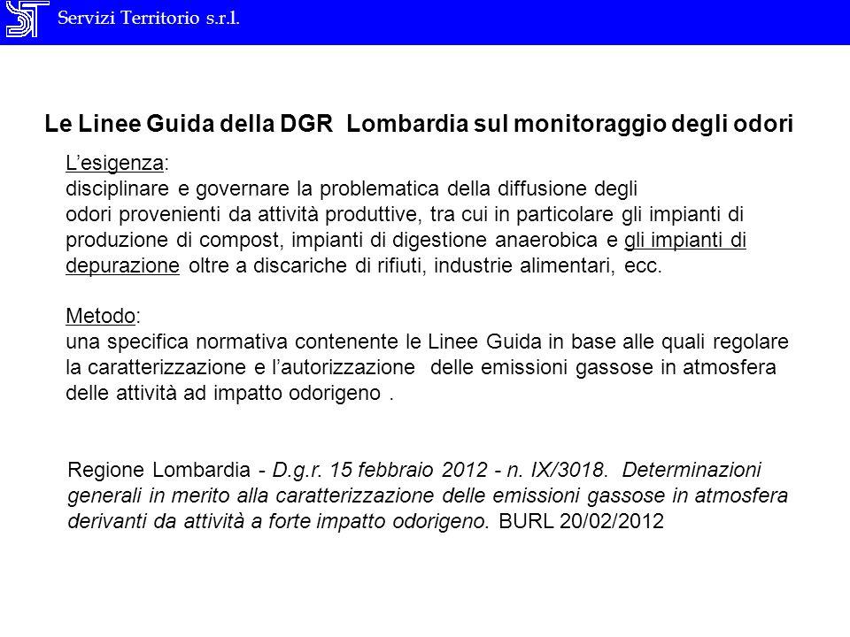 Servizi Territorio s.r.l. Le Linee Guida della DGR Lombardia sul monitoraggio degli odori Lesigenza: disciplinare e governare la problematica della di