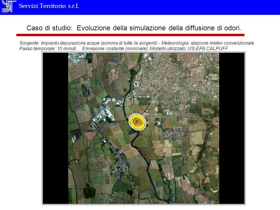 Servizi Territorio s.r.l. Caso di studio: Evoluzione della simulazione della diffusione di odori. Sorgente: Impianto depurazione acque (somma di tutte