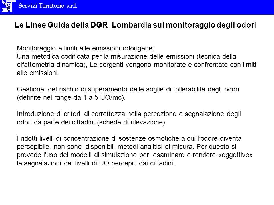 Servizi Territorio s.r.l. Le Linee Guida della DGR Lombardia sul monitoraggio degli odori Monitoraggio e limiti alle emissioni odorigene: Una metodica