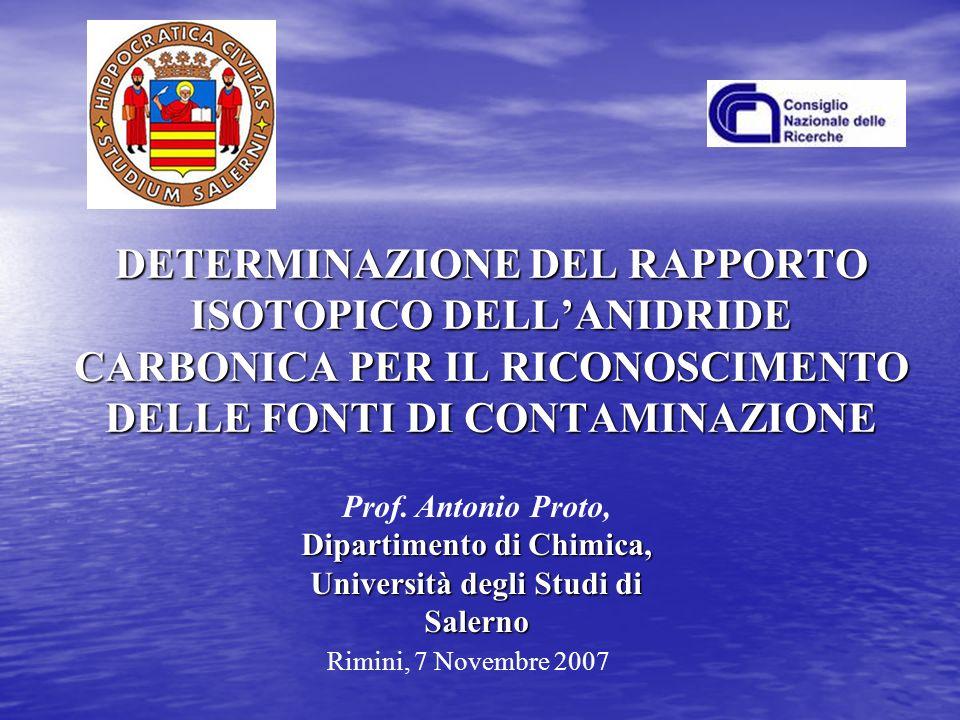 DETERMINAZIONE DEL RAPPORTO ISOTOPICO DELLANIDRIDE CARBONICA PER IL RICONOSCIMENTO DELLE FONTI DI CONTAMINAZIONE Rimini, 7 Novembre 2007 Dipartimento