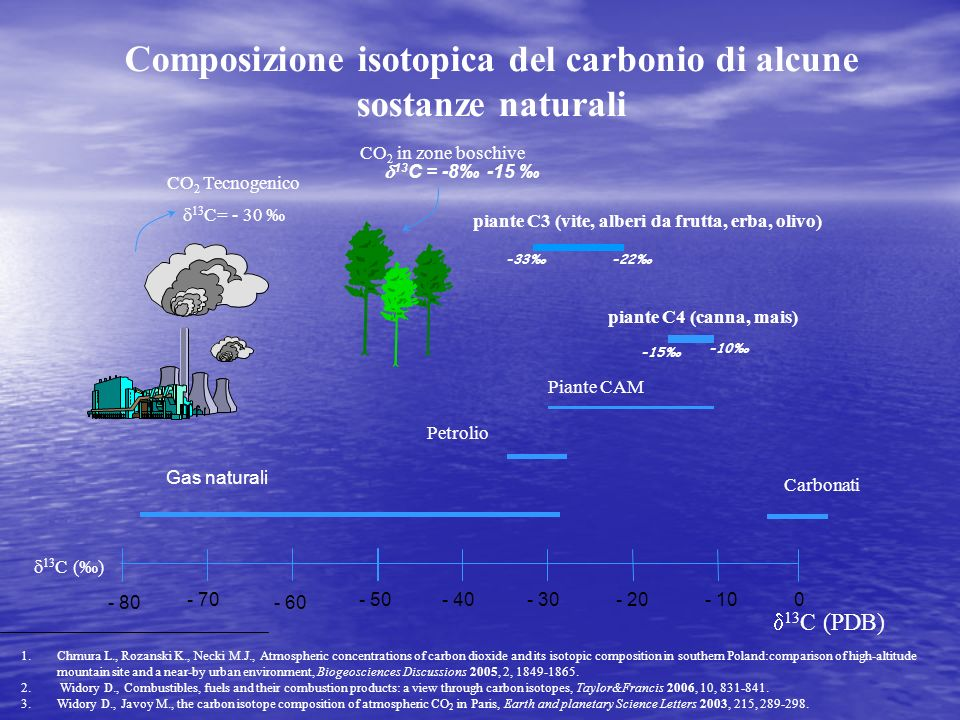- 80 - 70 - 60 - 50- 40- 30- 20- 100 13 C () Gas naturali Petrolio Piante CAM Composizione isotopica del carbonio di alcune sostanze naturali 13 C (PD