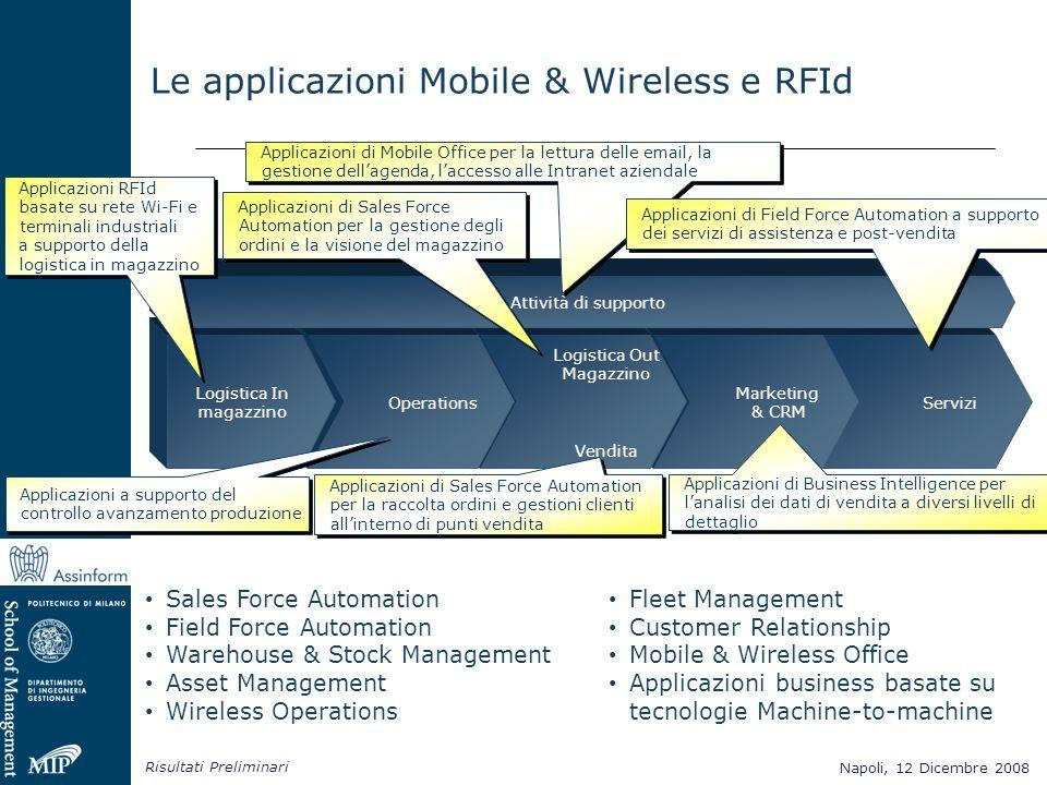 Napoli, 12 Dicembre 2008 Risultati Preliminari Napoli, 12 Dicembre 2008 Le applicazioni Mobile & Wireless e RFId Sales Force Automation Field Force Au