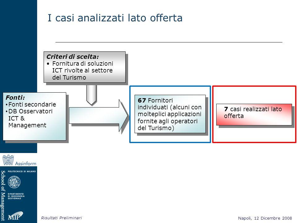 Napoli, 12 Dicembre 2008 Risultati Preliminari Napoli, 12 Dicembre 2008 7 casi realizzati lato offerta Criteri di scelta: Fornitura di soluzioni ICT r