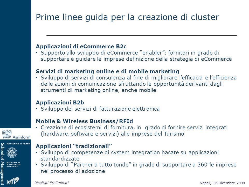 Napoli, 12 Dicembre 2008 Risultati Preliminari Napoli, 12 Dicembre 2008 Applicazioni di eCommerce B2c Supporto allo sviluppo di eCommerce enabler: for