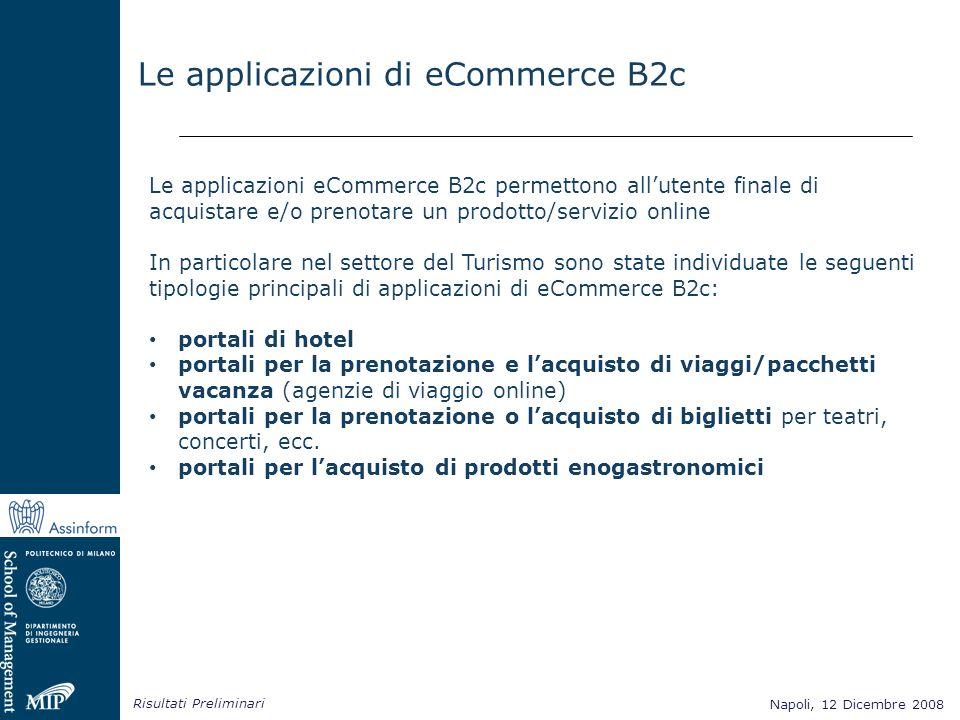 Napoli, 12 Dicembre 2008 Risultati Preliminari Napoli, 12 Dicembre 2008 Le applicazioni di eCommerce B2c Le applicazioni eCommerce B2c permettono allu
