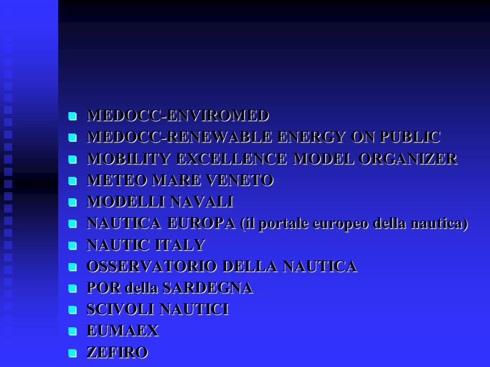 MEDOCC-ENVIROMED MEDOCC-ENVIROMED MEDOCC-RENEWABLE ENERGY ON PUBLIC MEDOCC-RENEWABLE ENERGY ON PUBLIC MOBILITY EXCELLENCE MODEL ORGANIZER MOBILITY EXCELLENCE MODEL ORGANIZER METEO MARE VENETO METEO MARE VENETO MODELLI NAVALI MODELLI NAVALI NAUTICA EUROPA (il portale europeo della nautica) NAUTICA EUROPA (il portale europeo della nautica) NAUTIC ITALY NAUTIC ITALY OSSERVATORIO DELLA NAUTICA OSSERVATORIO DELLA NAUTICA POR della SARDEGNA POR della SARDEGNA SCIVOLI NAUTICI SCIVOLI NAUTICI EUMAEX EUMAEX ZEFIRO ZEFIRO