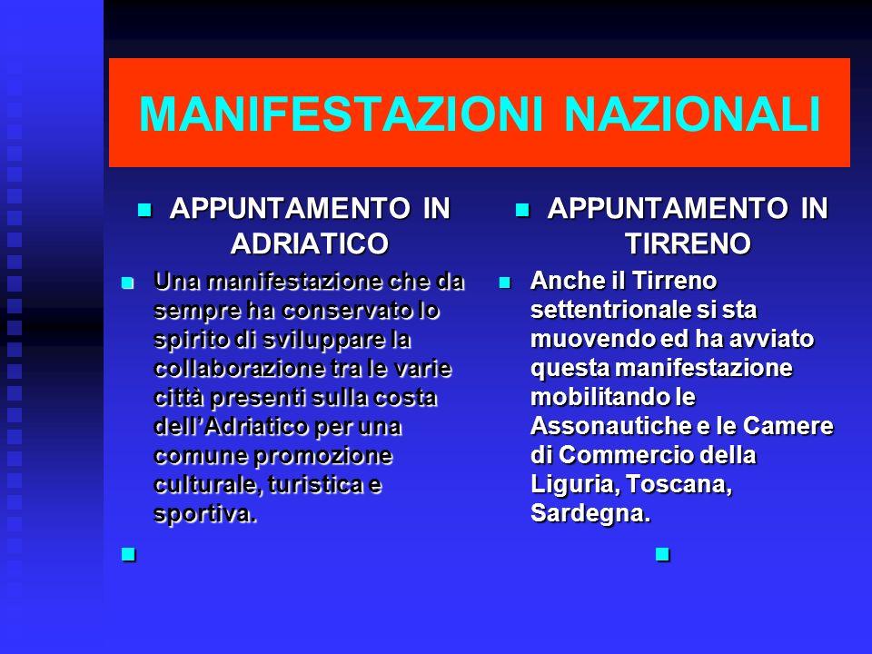 MANIFESTAZIONI NAZIONALI APPUNTAMENTO IN ADRIATICO APPUNTAMENTO IN ADRIATICO Una manifestazione che da sempre ha conservato lo spirito di sviluppare l