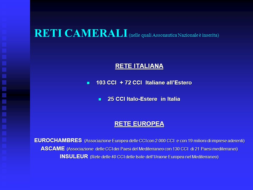RETI CAMERALI (nelle quali Assonautica Nazionale è inserita) RETE ITALIANA 103 CCI + 72 CCI Italiane allEstero 103 CCI + 72 CCI Italiane allEstero 25