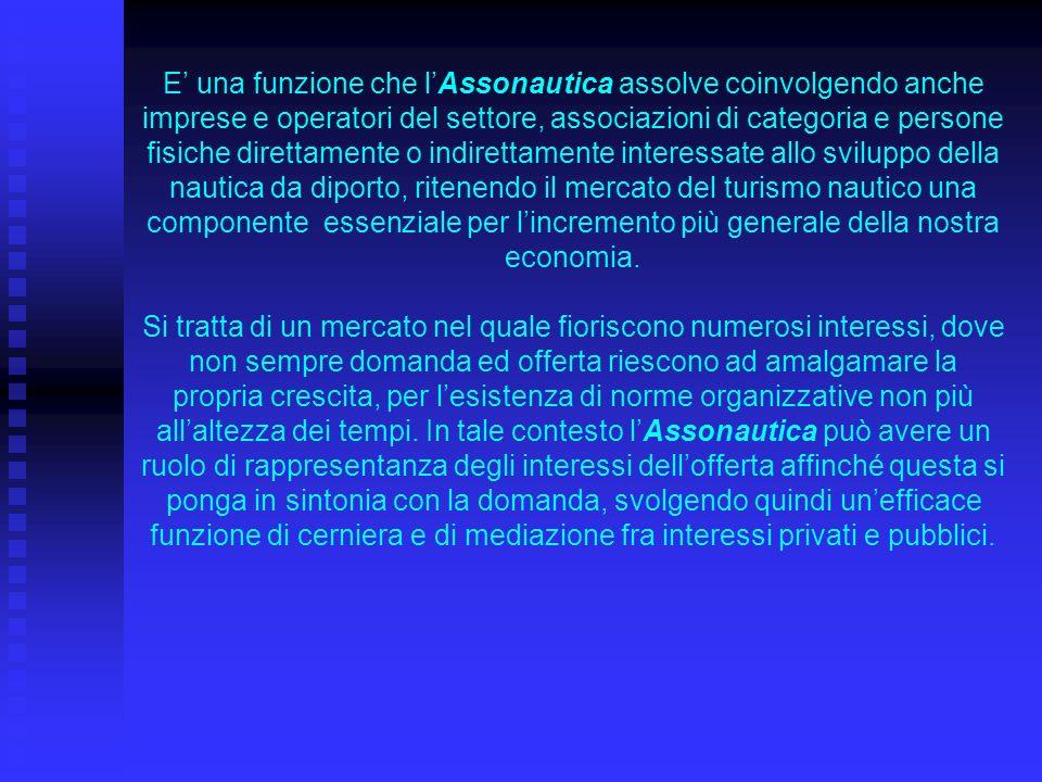 Questo ruolo, peraltro, nel porre lAssonautica al di sopra degli interessi di altre organizzazioni operanti nel mercato del turismo nautico, favorisce altresì un utile e proficuo coordinamento delle varie forze impegnate nel settore in questione, nel rispetto dei loro specifici programmi istituzionali.
