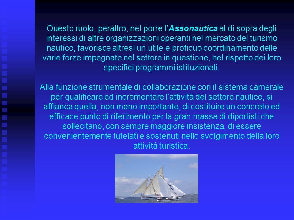 Questo ruolo, peraltro, nel porre lAssonautica al di sopra degli interessi di altre organizzazioni operanti nel mercato del turismo nautico, favorisce