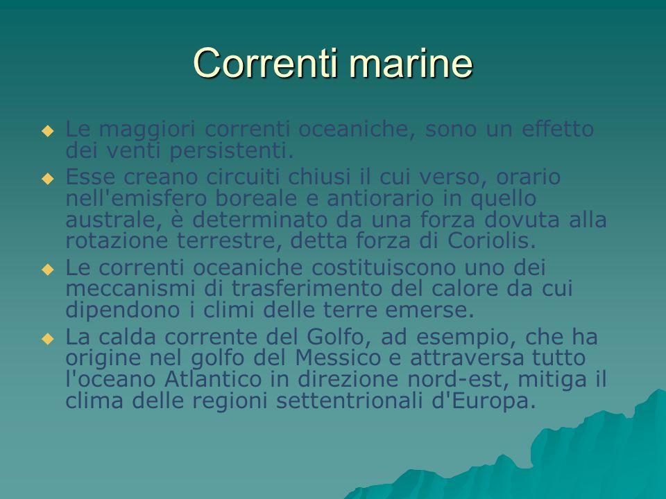 Correnti marine Le maggiori correnti oceaniche, sono un effetto dei venti persistenti. Esse creano circuiti chiusi il cui verso, orario nell'emisfero