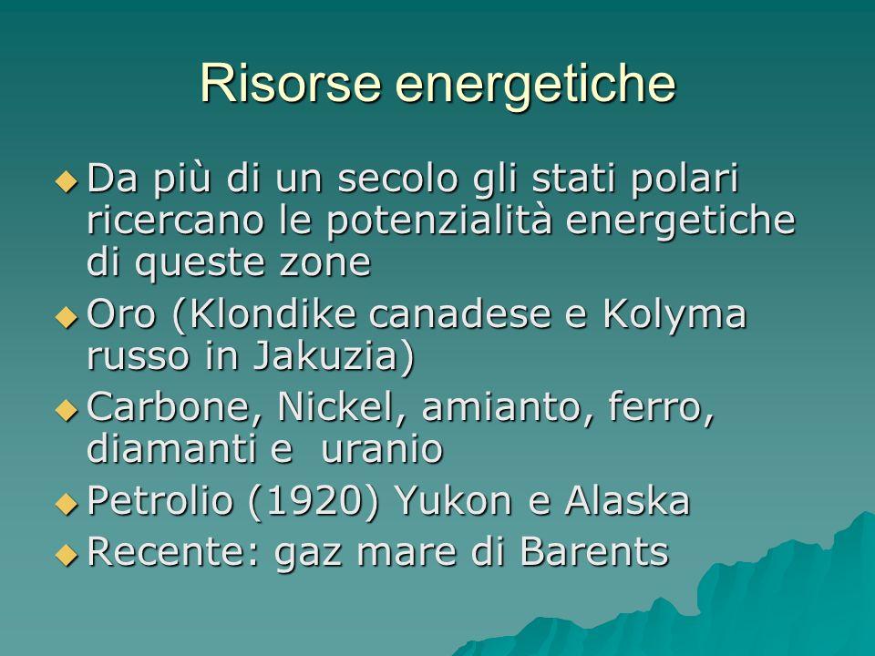 Risorse energetiche Da più di un secolo gli stati polari ricercano le potenzialità energetiche di queste zone Da più di un secolo gli stati polari ric