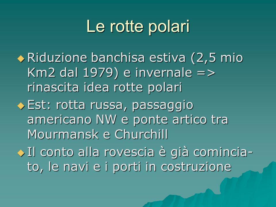 Le rotte polari Riduzione banchisa estiva (2,5 mio Km2 dal 1979) e invernale => rinascita idea rotte polari Riduzione banchisa estiva (2,5 mio Km2 dal