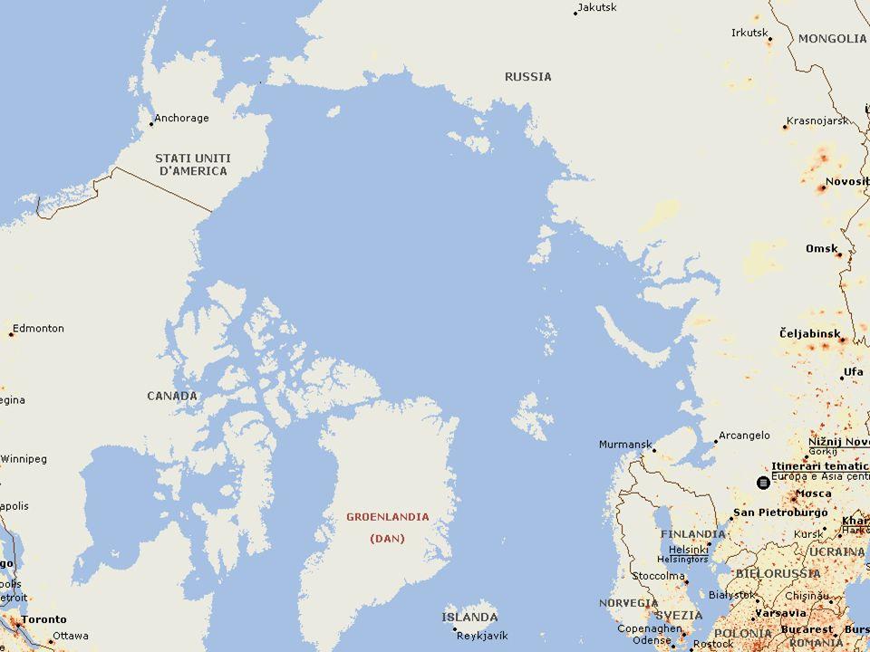 Le rotte polari Riduzione banchisa estiva (2,5 mio Km2 dal 1979) e invernale => rinascita idea rotte polari Riduzione banchisa estiva (2,5 mio Km2 dal 1979) e invernale => rinascita idea rotte polari Est: rotta russa, passaggio americano NW e ponte artico tra Mourmansk e Churchill Est: rotta russa, passaggio americano NW e ponte artico tra Mourmansk e Churchill Il conto alla rovescia è già comincia- to, le navi e i porti in costruzione Il conto alla rovescia è già comincia- to, le navi e i porti in costruzione
