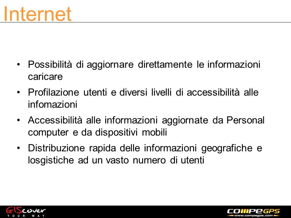 Possibilità di aggiornare direttamente le informazioni caricare Profilazione utenti e diversi livelli di accessibilità alle infomazioni Accessibilità alle informazioni aggiornate da Personal computer e da dispositivi mobili Distribuzione rapida delle informazioni geografiche e losgistiche ad un vasto numero di utenti Internet