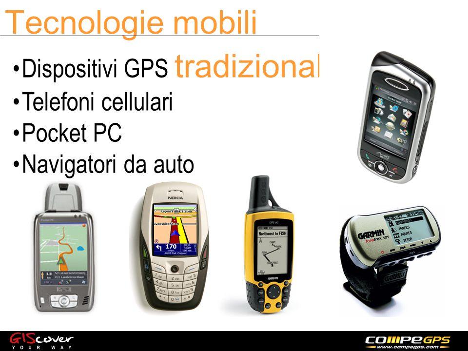 Tecnologie mobili Dispositivi GPS tradizionali Telefoni cellulari Pocket PC Navigatori da auto