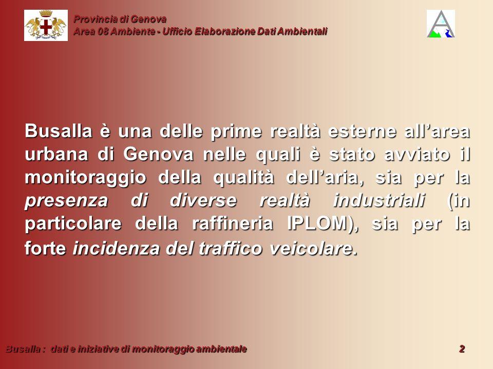 Busalla : dati e iniziative di monitoraggio ambientale 2 Provincia di Genova Area 08 Ambiente - Ufficio Elaborazione Dati Ambientali Busalla è una del
