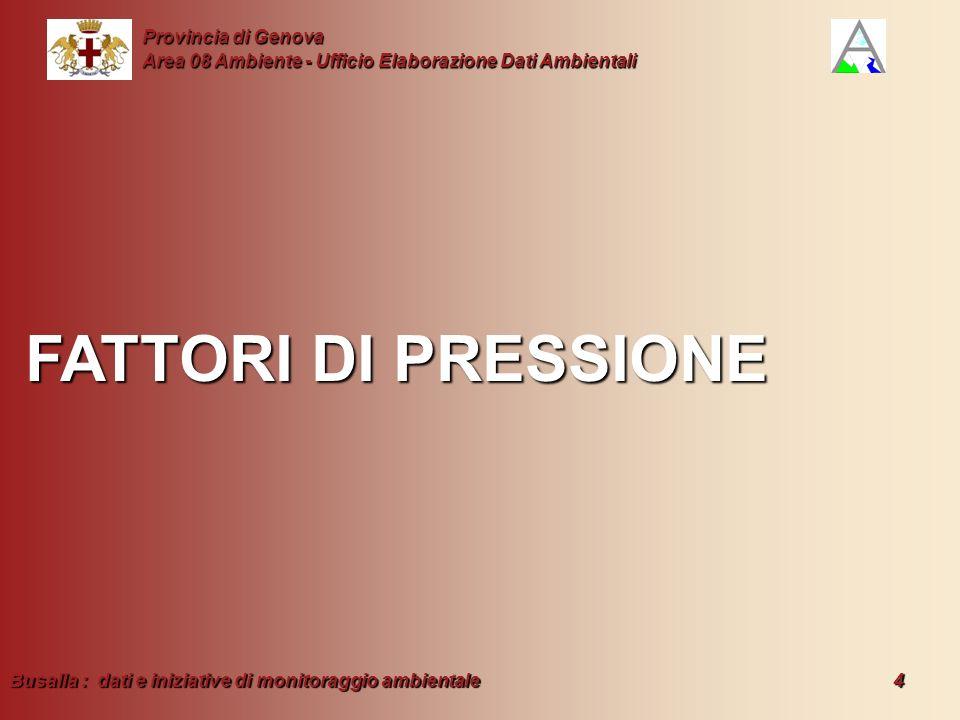 Busalla : dati e iniziative di monitoraggio ambientale 4 Provincia di Genova Area 08 Ambiente - Ufficio Elaborazione Dati Ambientali FATTORI DI PRESSI