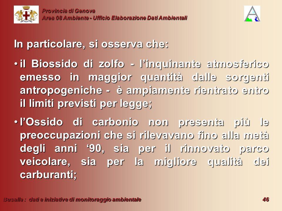 Busalla : dati e iniziative di monitoraggio ambientale 46 Provincia di Genova Area 08 Ambiente - Ufficio Elaborazione Dati Ambientali In particolare,