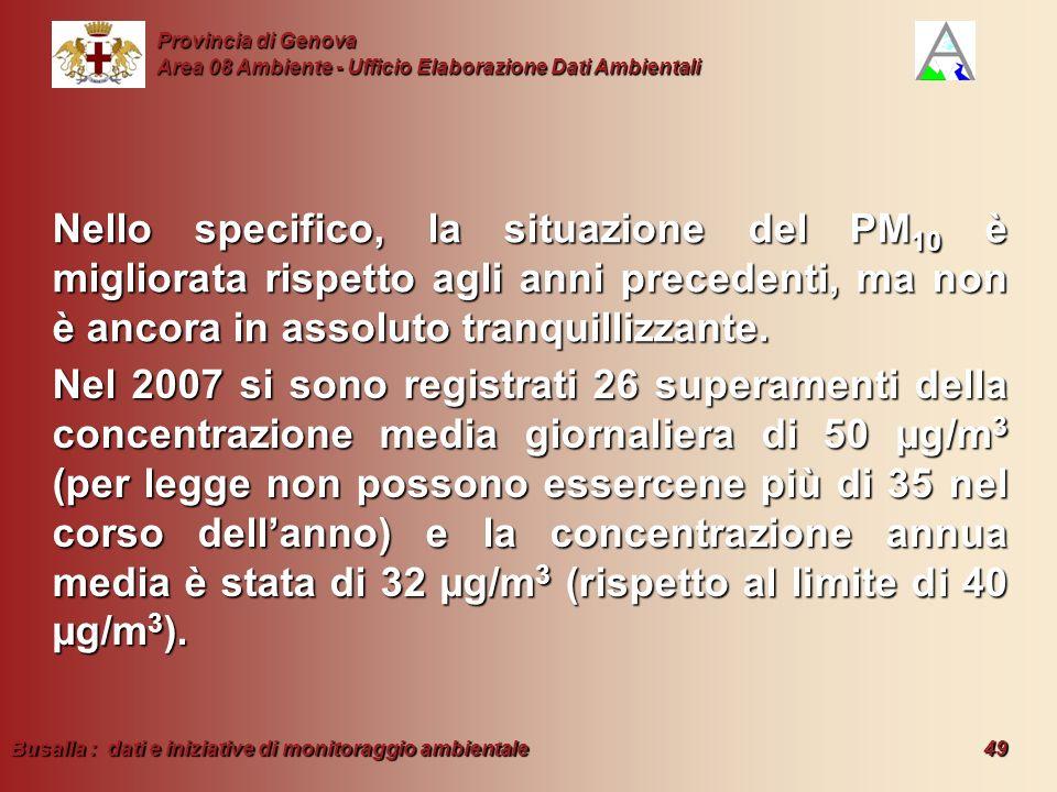 Busalla : dati e iniziative di monitoraggio ambientale 49 Provincia di Genova Area 08 Ambiente - Ufficio Elaborazione Dati Ambientali Nello specifico,