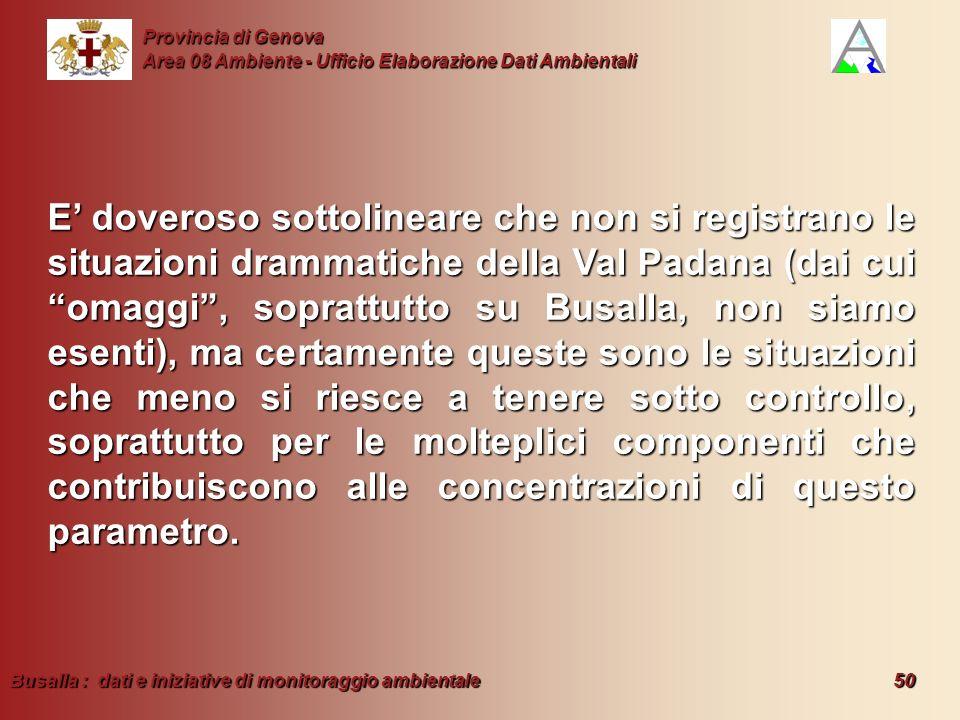 Busalla : dati e iniziative di monitoraggio ambientale 50 Provincia di Genova Area 08 Ambiente - Ufficio Elaborazione Dati Ambientali E doveroso sotto