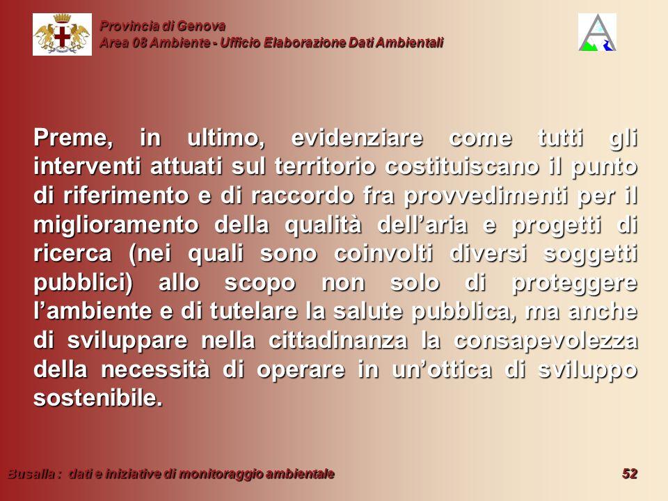 Busalla : dati e iniziative di monitoraggio ambientale 52 Provincia di Genova Area 08 Ambiente - Ufficio Elaborazione Dati Ambientali Preme, in ultimo